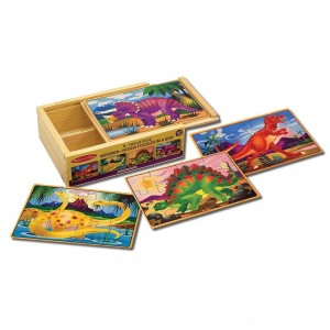 Black Friday 2020 - Melissa & Doug Dinosaurs 4-in-1 Wooden Jigsaw Puzzles in a Storage Box (48pc)