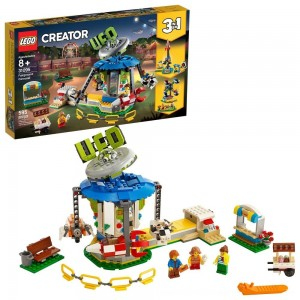 Black Friday 2020 - LEGO Creator Fairground Carousel 31095 Space-Themed Building Kit with Ice Cream Cart 595pc