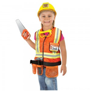 Black Friday 2020 - Melissa & Doug Construction Worker Role Play Costume Dress-Up Set (6pc), Adult Unisex, Size: Large, Gold/Orange/Yellow
