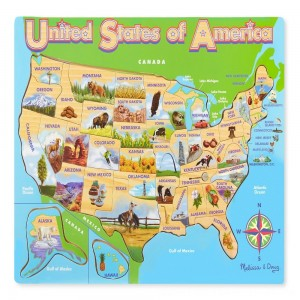 Black Friday 2020 - Melissa & Doug USA Map Wooden Jigsaw Puzzle 45pc