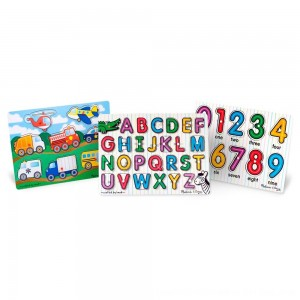 Black Friday 2020 - Melissa & Doug Wooden Peg Puzzles Set - Alphabet, Numbers, and Vehicles 44pc