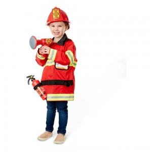 Black Friday 2020 - Melissa & Doug Fire Chief Role Play Costume Dress-Up Set (6pc), Adult Unisex, Size: Small, Red
