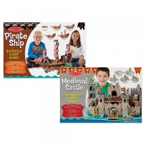 Black Friday 2020 - Melissa And Doug Pirate Ship And Medieval Castle 3D Puzzle 200pc
