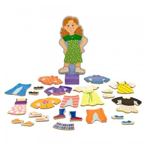 Black Friday 2020 - Melissa & Doug Maggie Leigh Magnetic Wooden Dress-Up Doll Pretend Play Set (25+pc)