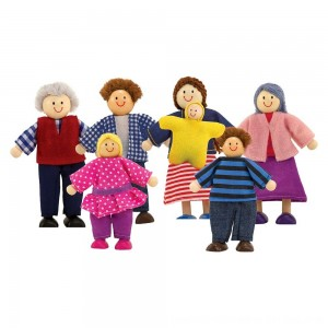 Black Friday 2020 - Melissa & Doug 7-Piece Poseable Wooden Doll Family for Dollhouse (2-4 inches each)