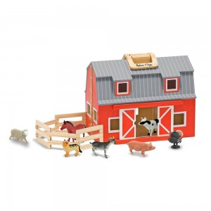 Black Friday 2020 - Melissa & Doug Fold and Go Wooden Barn Play Set - 10pc