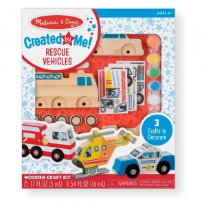 Black Friday 2020 - Melissa & Doug Decorate-Your-Own Wooden Rescue Vehicles Craft Kit - Police Car, Fire Truck, Helicopter