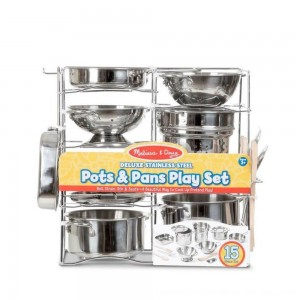Black Friday 2020 - Melissa & Doug Deluxe Stainless Steel Pots & Pans Play Set