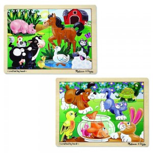 Black Friday 2020 - Melissa & Doug Animals Wooden Jigsaw Puzzles Set - Pets and Farm Life (24pc)