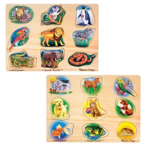 Black Friday 2020 - Melissa & Doug Sound Puzzles Set: Pets and Wild Animals Wooden Peg Puzzles 2pc