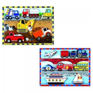 Black Friday 2020 - Melissa & Doug Wooden Chunky Puzzles Set - Vehicles and Construction 15pc