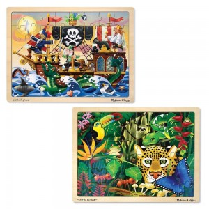 Black Friday 2020 - Melissa & Doug Wooden Jigsaw Puzzles Set - Rainforest Animals and Pirate Ship 2pc
