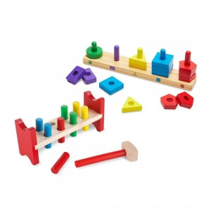 Black Friday 2020 - Melissa & Doug Classic Wooden Toy Bundle - Pound-A-Peg, Stack and Sort Board