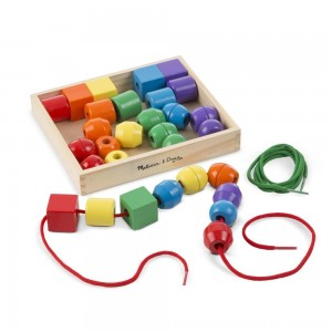 Black Friday 2020 - Melissa & Doug Primary Lacing Beads - Educational Toy With 30 Wooden Beads and 2 Laces