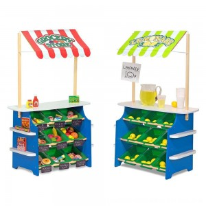 Black Friday 2020 - Melissa & Doug Wooden Grocery Store and Lemonade Stand - Reversible Awning, 9 Bins, Chalkboards