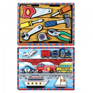Black Friday 2020 - Melissa & Doug Doug Vehicles and Tools Wooden Chunky Puzzle Bundle 2pc