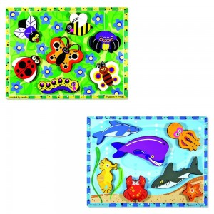 Black Friday 2020 - Melissa & Doug Wooden Chunky Puzzles Set - Ocean Animals and Insects 14pc