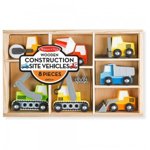 Black Friday 2020 - Melissa & Doug Wooden Construction Site Vehicles With Wooden Storage Tray (8pc)