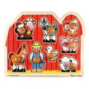 Black Friday 2020 - Melissa & Doug Farm Animals Jumbo Knob Wooden Puzzle 8pc