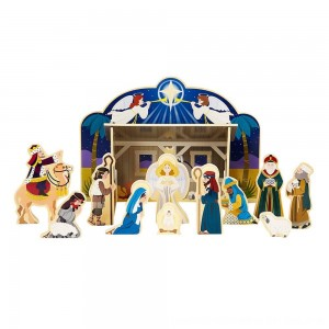 Black Friday 2020 - Melissa & Doug Classic Wooden Christmas Nativity Set With 4-Piece Stable and 11 Wooden Figures