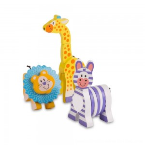 Black Friday 2020 - Melissa & Doug First Play Set of 3 Safari Animal Wooden Grasping Toys