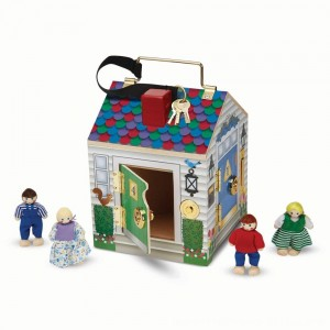 Black Friday 2020 - Melissa & Doug Take-Along Wooden Doorbell Dollhouse - Doorbell Sounds, Keys, 4 Poseable Wooden Dolls