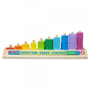 Black Friday 2020 - Melissa & Doug Counting Shape Stacker - Wooden Educational Toy With 55 Shapes and 10 Number Tiles