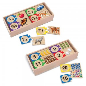 Black Friday 2020 - Melissa & Doug Self-Correcting Letter and Number Wooden Puzzles Set With Storage Box 92pc