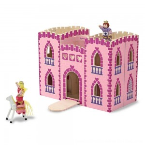 Black Friday 2020 - Melissa & Doug Fold and Go Wooden Princess Castle With 2 Royal Play Figures, 2 Horses, and 4pc of Furniture
