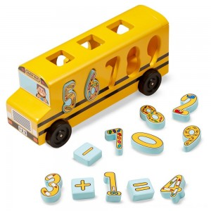 Black Friday 2020 - Melissa & Doug Number Matching Math Bus - Educational Toy With 10 Numbers, 3 Math Symbols, and 5 Double-Sided Cards