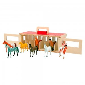 Black Friday 2020 - Melissa & Doug Take-Along Show-Horse Stable Play Set With Wooden Stable Box and 8 Toy Horses