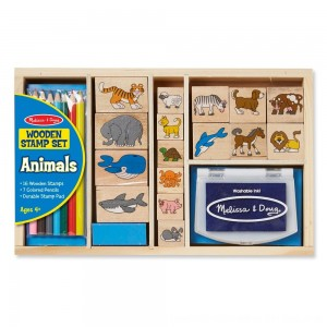 Black Friday 2020 - Melissa & Doug Wooden Stamp Set: Animals - 16 Stamps, 4 Colored Pencils, Stamp Pad