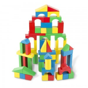 Black Friday 2020 - Melissa & Doug Wooden Building Blocks Set - 100 Blocks in 4 Colors and 9 Shapes