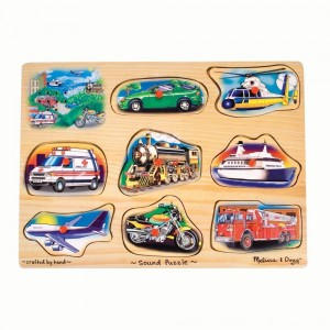 Black Friday 2020 - Melissa And Doug Vehicle Puzzle Wooden Peg Sound Puzzle 8pc