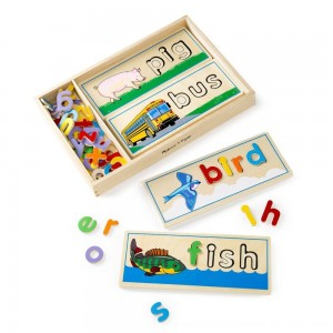 Black Friday 2020 - Melissa & Doug See & Spell Wooden Educational Toy With 8 Double-Sided Spelling Boards and 64 Letters