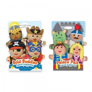 Black Friday 2020 - Melissa & Doug Adventure Hand Puppets (Set of 2, 4 puppets in each) - Bold Buddies and Palace Pals