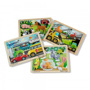 Black Friday 2020 - Melissa & Doug Wooden Jigsaw Puzzles Set: Vehicles, Pets, Construction, and Farm 4 puzzles 48pc