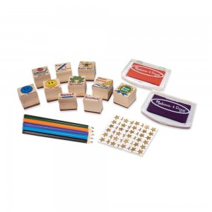 Black Friday 2020 - Melissa & Doug Wooden Classroom Stamp Set With 10 Stamps, 5 Colored Pencils, 4 Sticker Sheets, and 2-Colored Stamp Pad