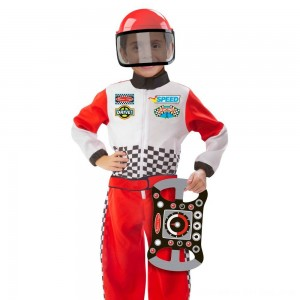 Black Friday 2020 - Melissa & Doug Race Car Driver Role Play Costume Set (3pc) - Jumpsuit, Helmet, Steering Wheel, Adult Unisex, Size: Small, Gold