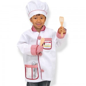 Black Friday 2020 - Melissa & Doug Chef Role Play Costume Dress -Up Set With Realistic Accessories, Adult Unisex, Red/Gold/red