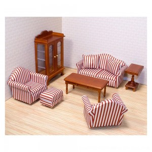 Black Friday 2020 - Melissa & Doug Classic Victorian Wooden and Upholstered Dollhouse Living Room Furniture (9pc)