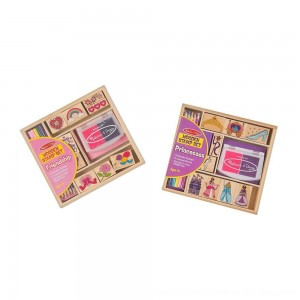 Black Friday 2020 - Melissa & Doug Wooden Stamps, Set of 2 - Princess and Friendship, With 18 Stamps, 10 Colored Pencils, and 2 Stamp Pads
