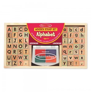 Black Friday 2020 - Melissa & Doug Wooden Alphabet Stamp Set - 56 Stamps With Lower-Case and Capital Letters