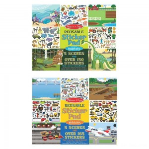 Black Friday 2020 - Melissa & Doug Reusable Sticker Pads Set: Vehicles and Habitats, 315+ Stickers and 10 Scenes