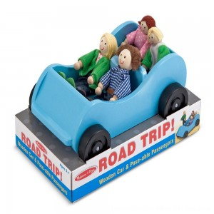 Black Friday 2020 - Melissa & Doug Road Trip Wooden Toy Car and 4 Poseable Dolls (4-5 inches each)