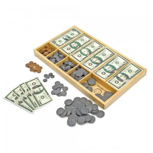 Black Friday 2020 - Melissa & Doug Play Money Set - Educational Toy With Paper Bills and Plastic Coins (50 of each denomination) and Wooden Cash Drawer for Storage