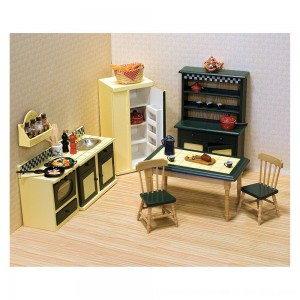 Black Friday 2020 - Melissa & Doug Classic Wooden Dollhouse Kitchen Furniture (7pc) - Buttery Yellow/Deep Green