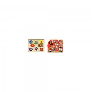 Black Friday 2020 - Melissa & Doug Jumbo Knob Wooden Puzzles - Shapes and Farm Animals 2pc