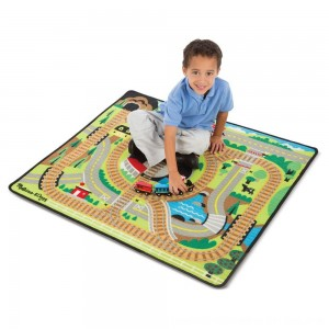Black Friday 2020 - Melissa & Doug Round the Rails Train Rug With 3 Linking Wooden Train Cars (39 x 36 inches)