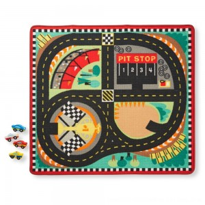 Black Friday 2020 - Melissa & Doug Round the Speedway Race Track Rug With 4 Race Cars (39 x 36 inches)